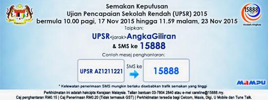 Cara Semak dan Ketahui Keputusan UPSR 2015 Menerusi SMS