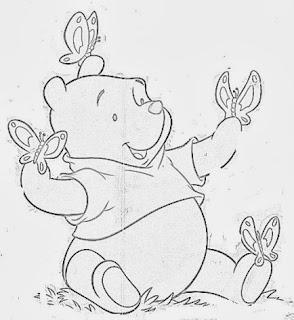 desenho do ursinho pooh para pintar em fraldas