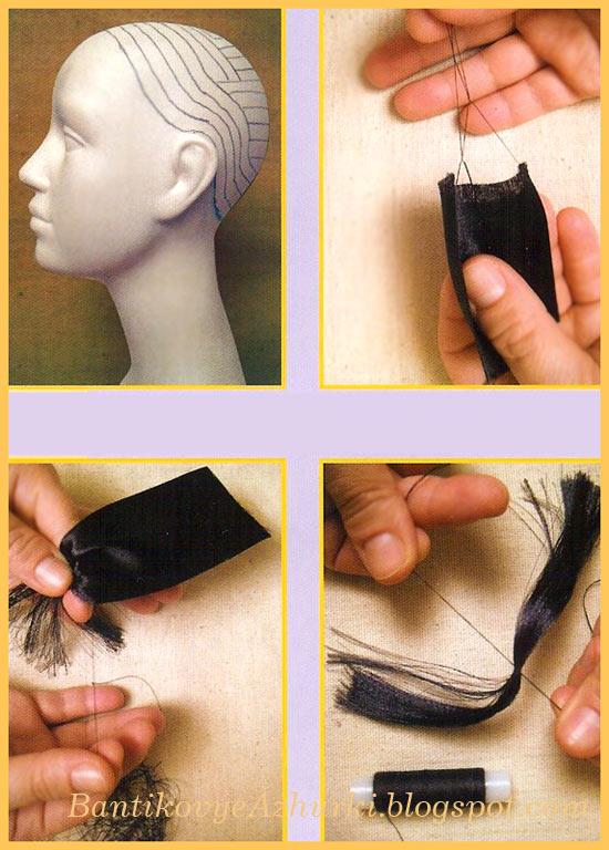 как делать волосы для куклы из ленты