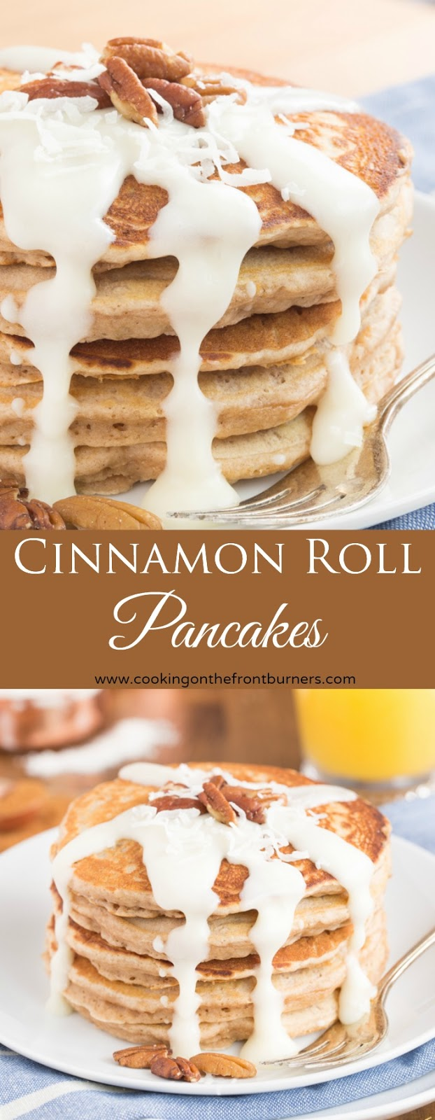 Cinnamon Roll Pancakes | Cooking on the Front Burner
