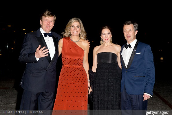 King Willem-Alexander of The Netherlands and Queen Maxima of the Netherlands, Crown Princess Mary of Denmark and Crown Prince Frederik of Denmark, Queen Margrethe of Denmark and Prince Henrik of Denmark, Princess Marie of Denmark at The Black Diamond in Copenhagen