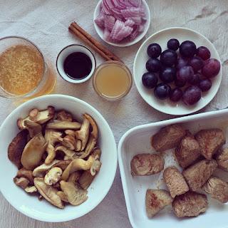 boeuf champignons raisins