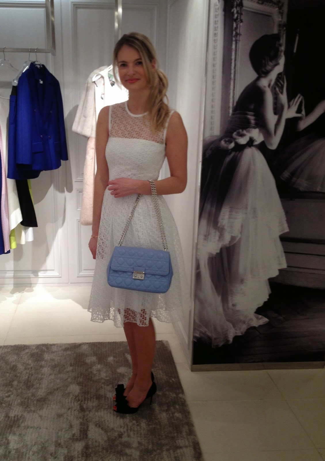 Dior, Dior harrods, harrods, dior bag, lady dior, dior ready to wear, dior look book, dior spring summer 2014, dior white dress, white dress, baby blue bag, blue bag, dior baby blue bag, dior heels, chrissabella, fashion blogger, lady jean bag, dior leady jean bag, modeblogger, london, london blogger