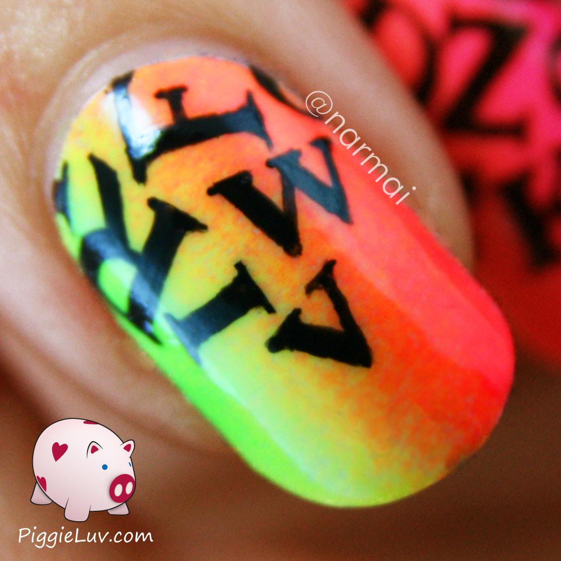 PiggieLuv: Neon letter rain nail art