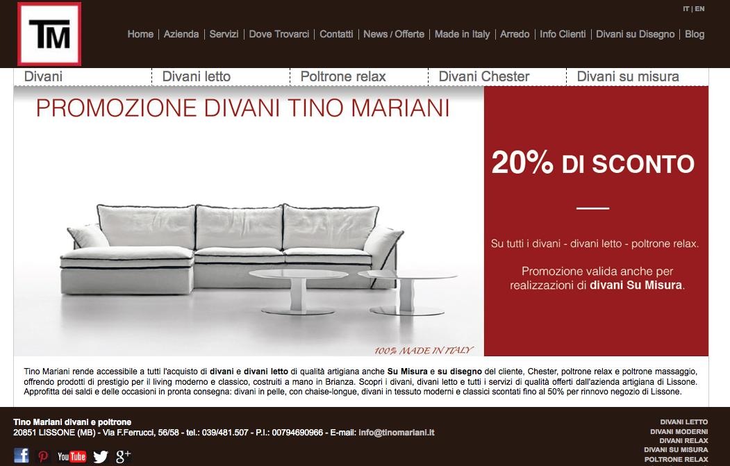 Divani promozioni | Tino Mariani