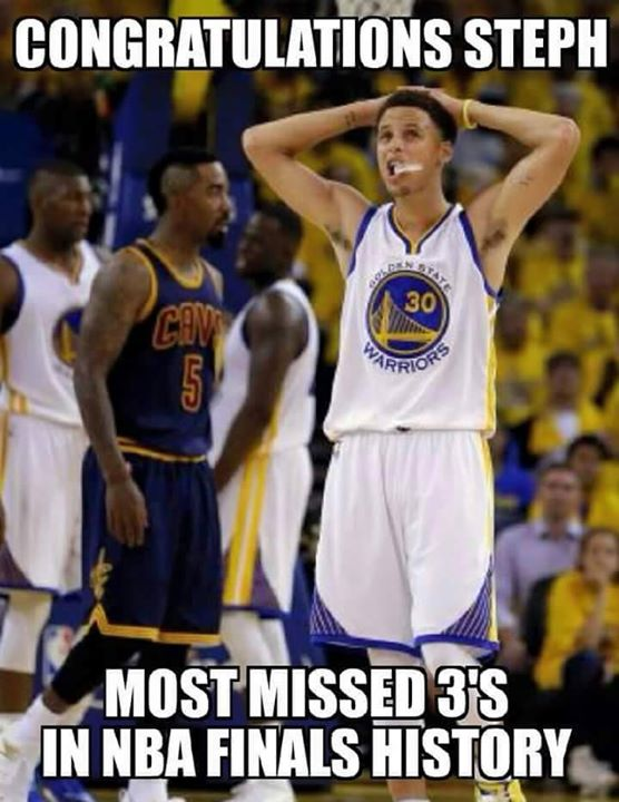 congratulations steph most missed 3's in nba history #StephenCurry, #nbafinals, #NBA, #holdinghead #nbahistory