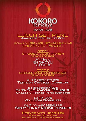 Kokoro Ramenya Lunch Set Menu