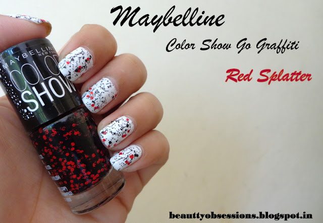 "Maybelline ColorShow Go Graffiti Nail Polish "" Red Splatter "" Review,Swatches"