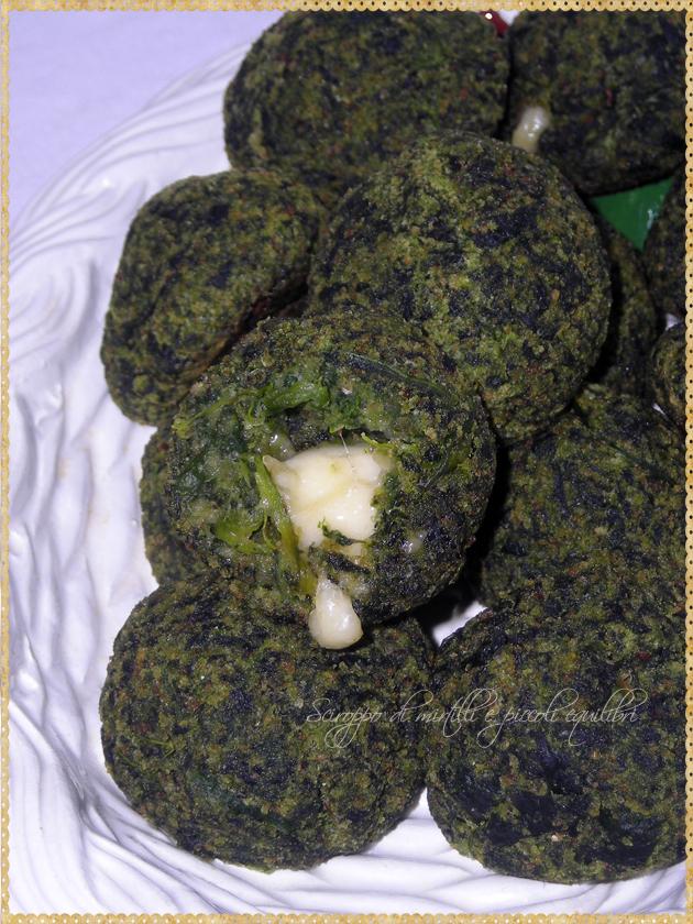 Polpettine di spinaci provolone filante
