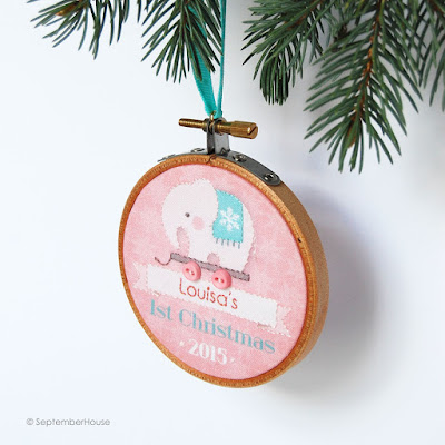 Baby's First Christmas Elephant Personalized Ornament 2015 by SeptemberHouse