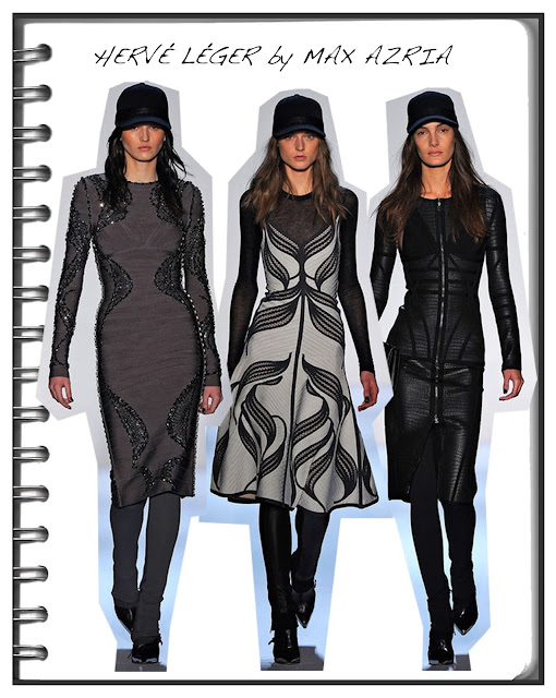 Herve Leger AW 13 runway images with models wearing baseball caps
