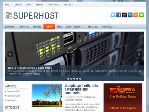 Free SuperHost WordPress Theme
