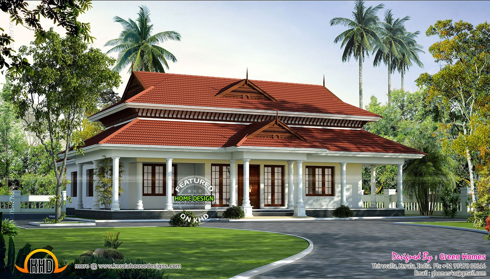 Elegant kerala model single storied home kerala home for Single storied kerala house plans