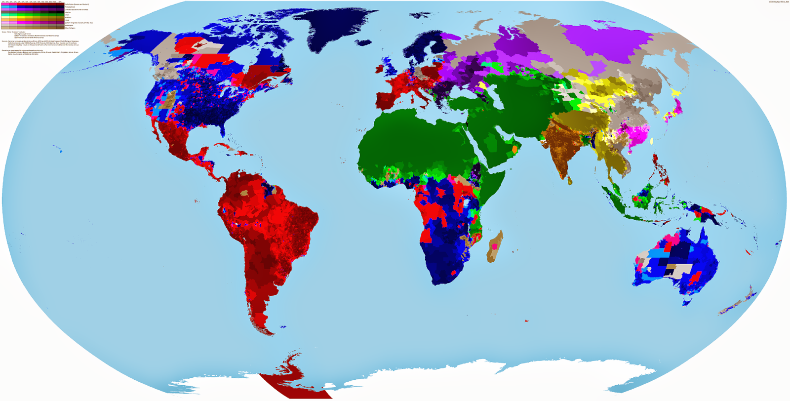 Gambar Peta Dunia Berdasarkan Agama Perhantian Ilmu