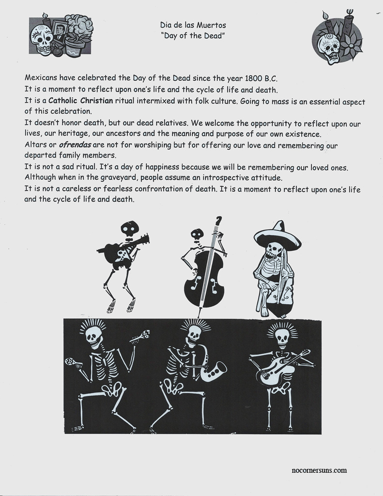 Worksheets Dia De Los Muertos Worksheets no corner suns dia de las muertos day of the dead handout