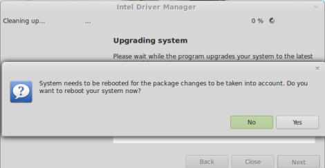 Instalador de Drivers da Intel no Linux Mint funcionando