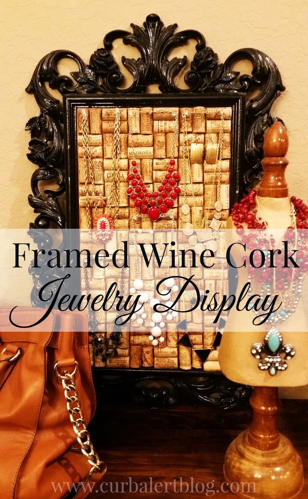Framed Wine Cork Jewelry Display via Curb Alert! www.curbalertblog.com
