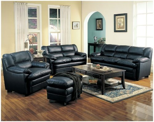 black-and-brown-leather-living-room-sets