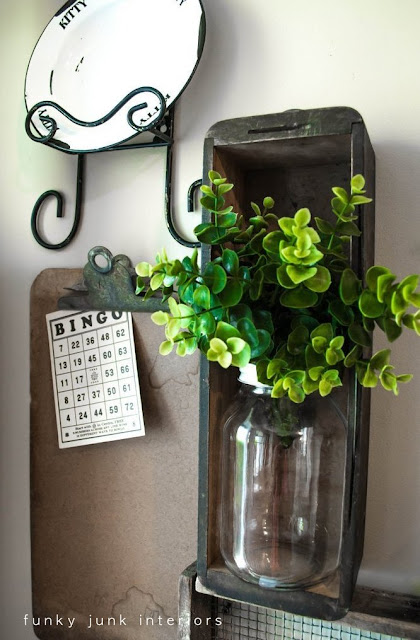 bingo - vintage sewing machine drawer / Wall art with junk for coats - a unique entryway by FunkyJunkInteriors.net