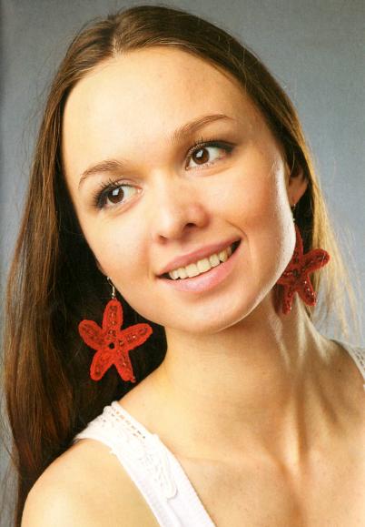 Серьги-звездочки крючком: Схема вязания