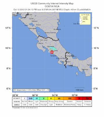 Epicentro sismo 5,2 grados Costa Rica, 12 de Octubre 2012