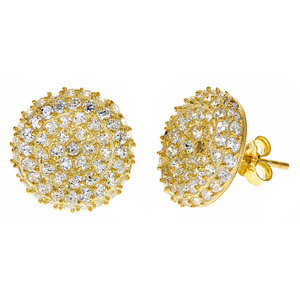 Kara Ackerman's GemGirl Pave Disc Earrings in Yellow Gold