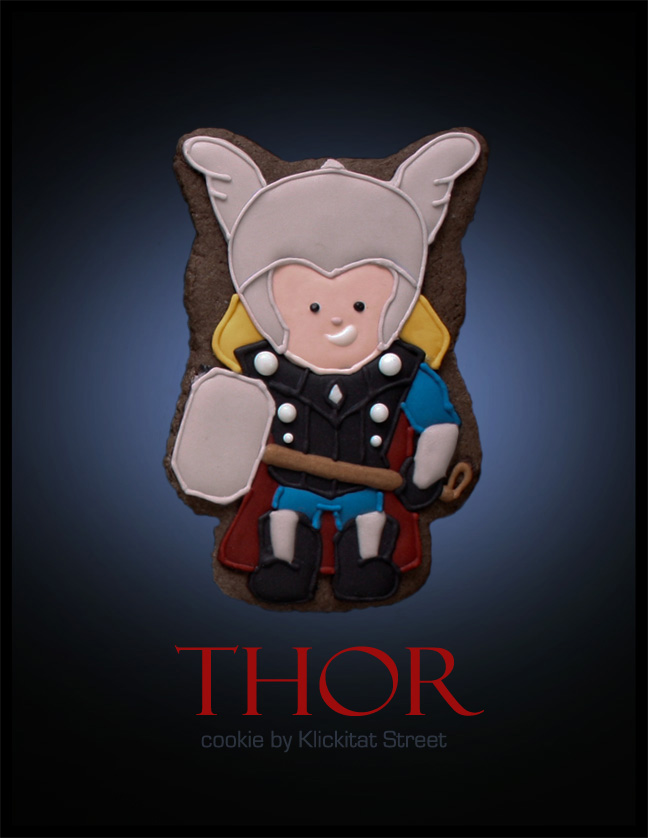 decorated sugar cookie of Marvel Avengers movie character Thor