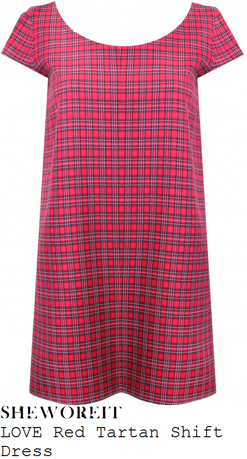 lucy-mecklenburgh-red-tartan-check-cap-sleeve-shift-mini-dress