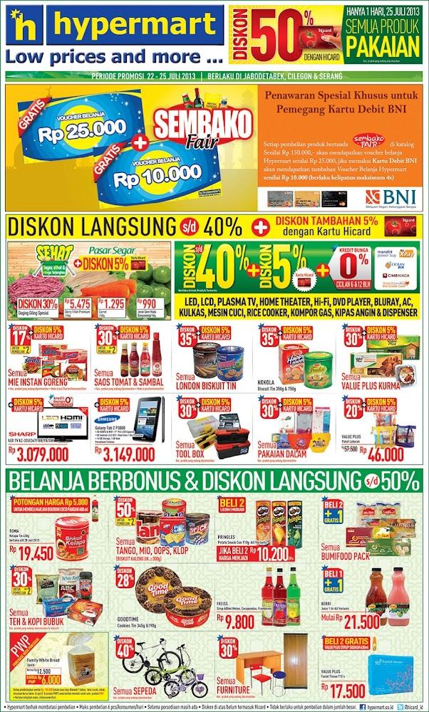 Hypermart Weekday Promo Terbaru Periode 22-25 Juli 2013
