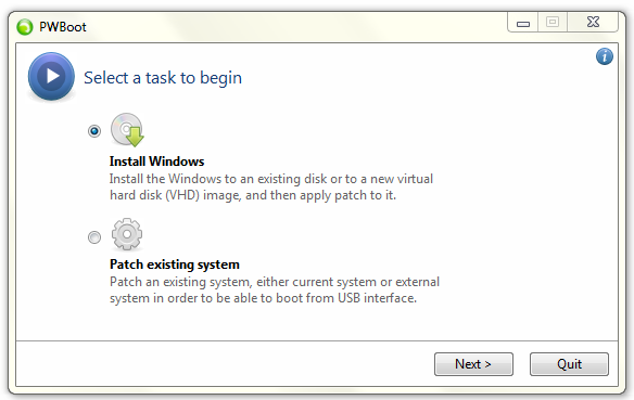 "Select ""Install"" Windows Option on PWBoot"