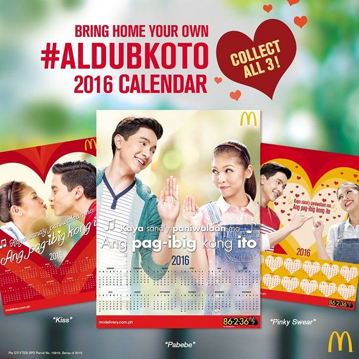 McDonald's AlDubKoTo 2016 Calendars