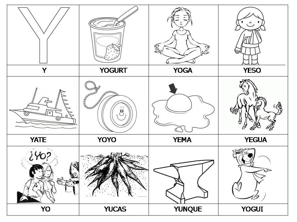 Laminas con dibujos para aprender palabras y colorear con letra  Y