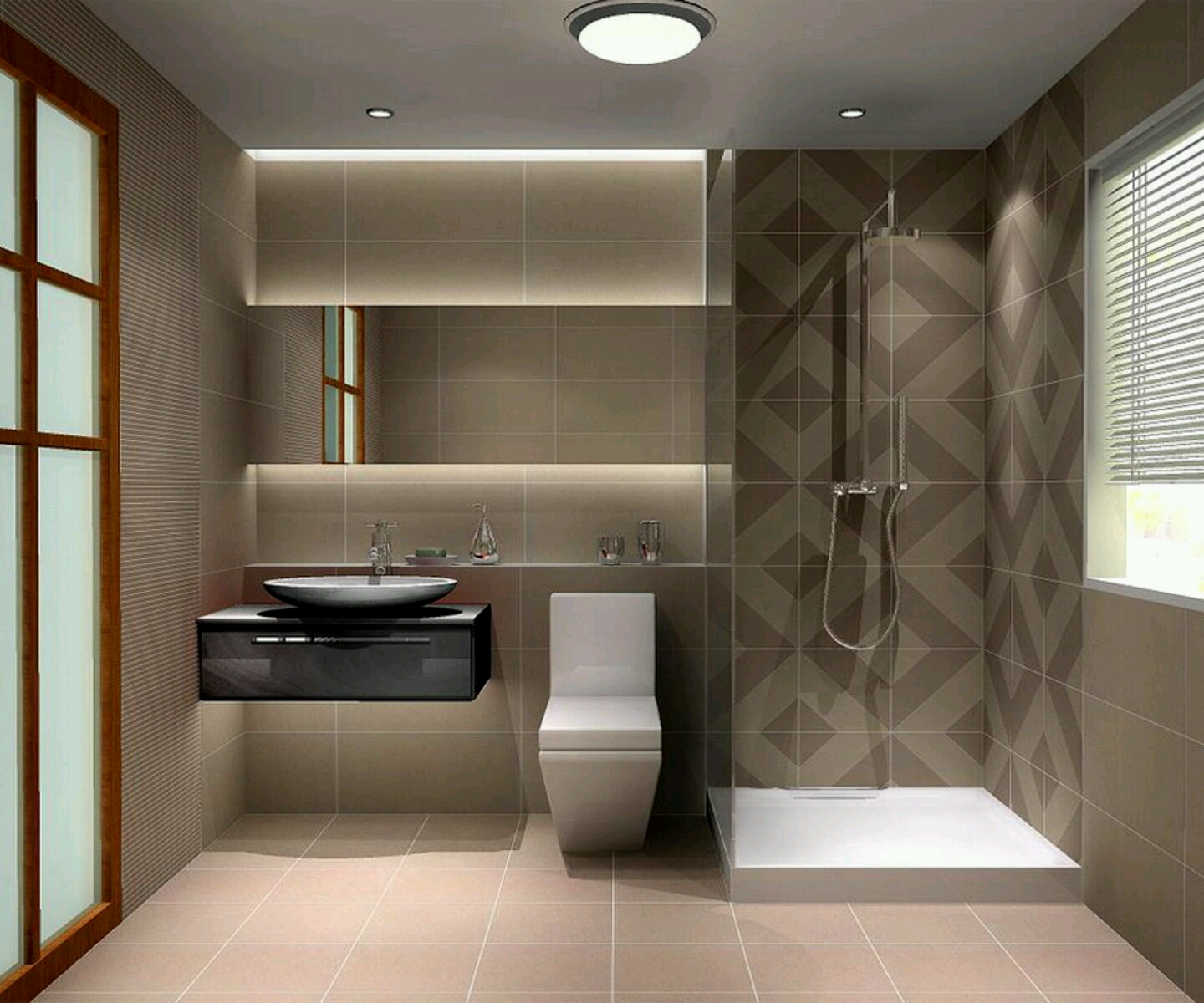 Small modern bathroom design 2017 grasscloth wallpaper for Compact bathroom layout