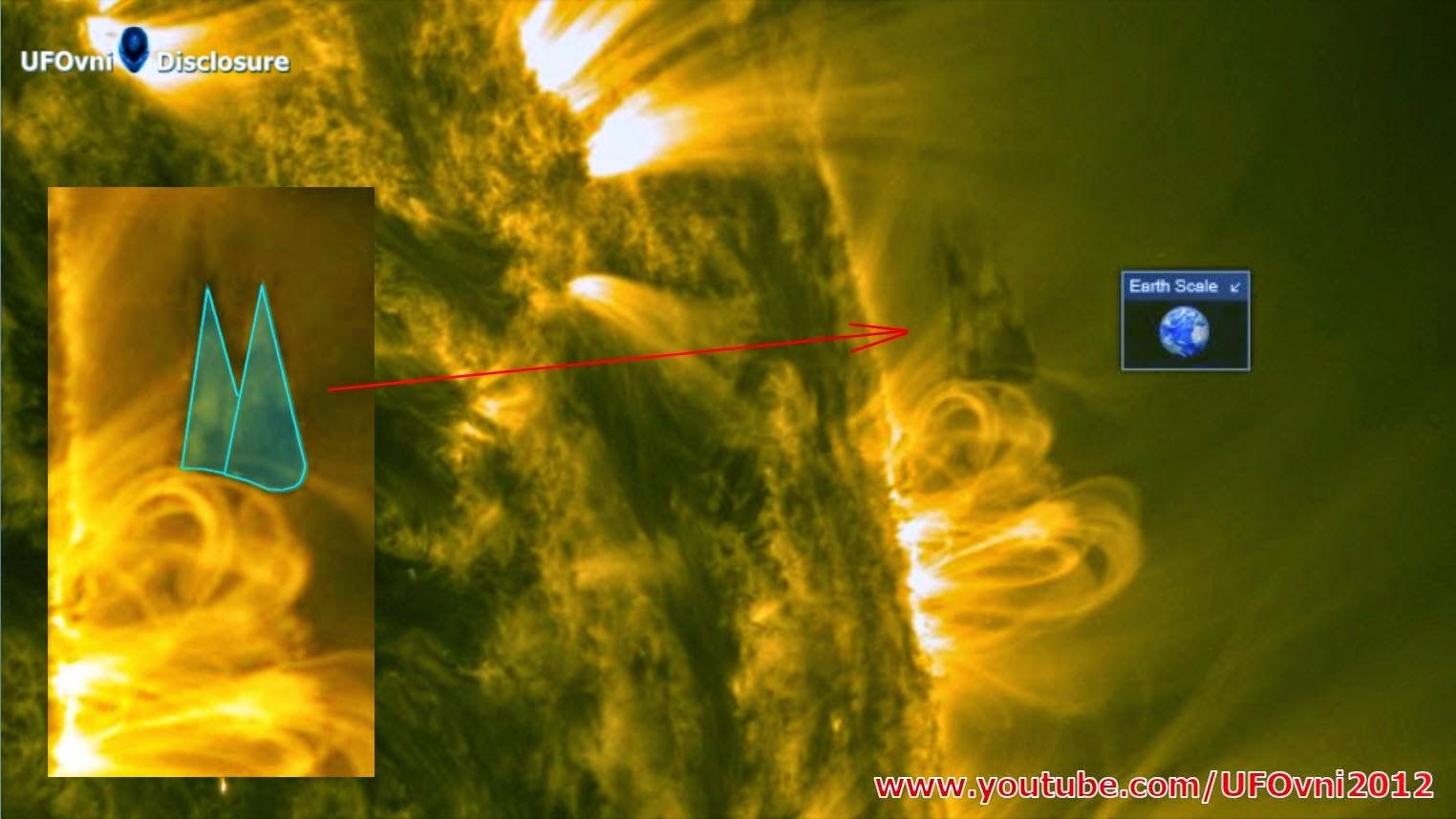 2 Ombres OVNIS (2x tailles de terres) quittent le soleil, le 18 janvier 2015