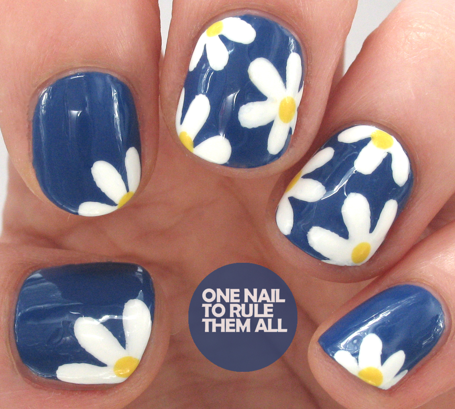 One Nail To Rule Them All: Navy Daisies for Avon