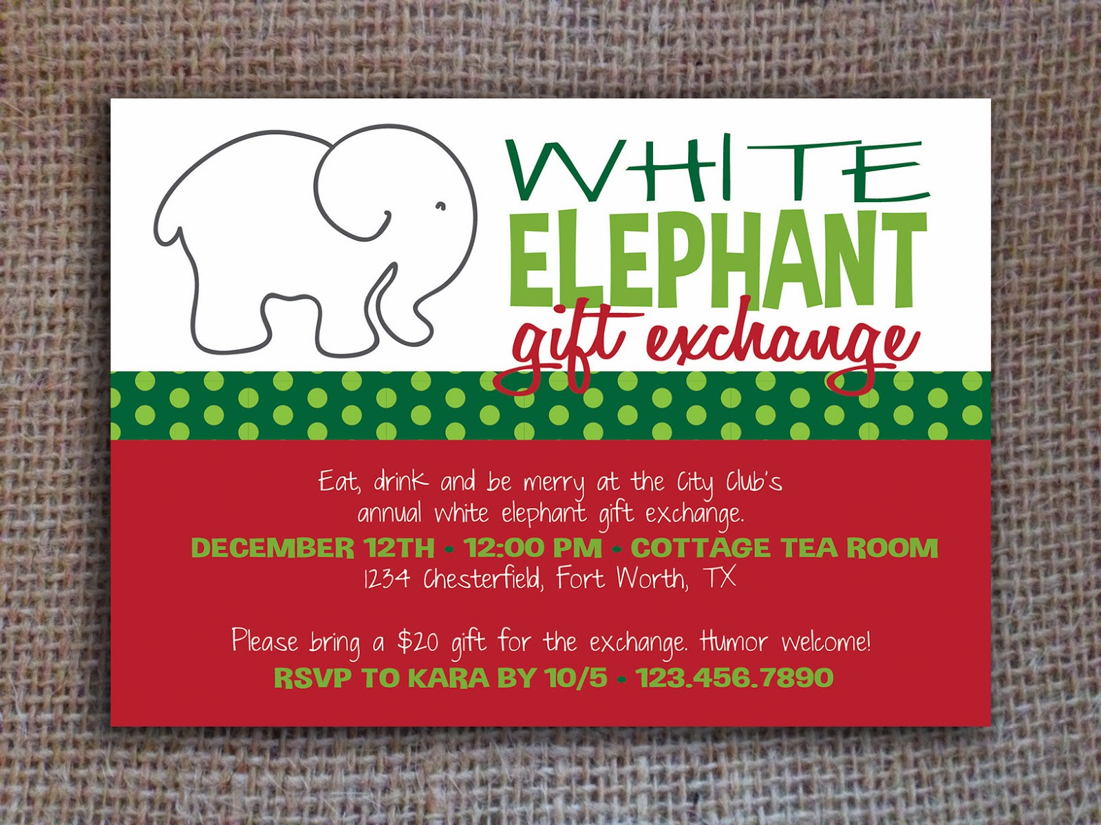 White Elephant Gift Exchange Clip Art - White elephant christmas party invitations templates