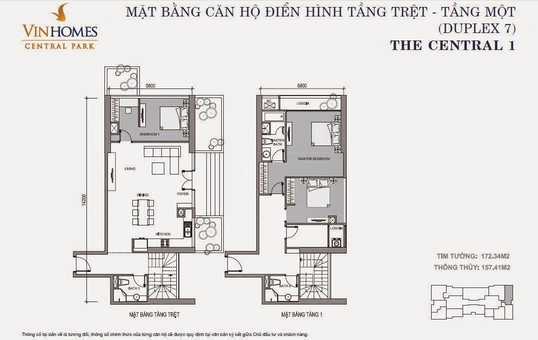 Căn hộ Vinhomes Central Park 1 - căn hộ Duplex số 07, tầng 1