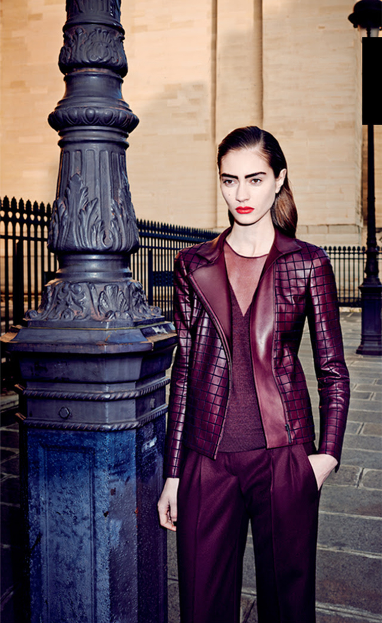 Akris fall 2014 Bergdorf Goodman look book, oxblood leather jacket and trousers