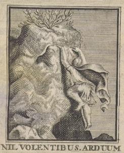 Embleem of titelvignet nil volentibus arduum door Gerard de Lairesse op titelpagina's van toneelstukken van Nil Volentibus Arduum