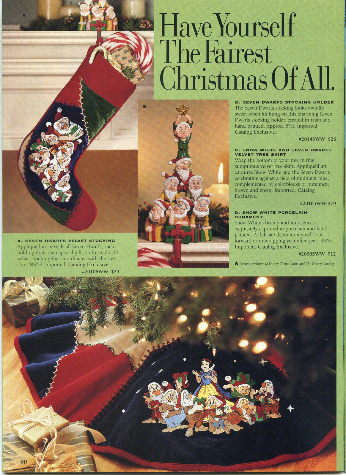 the opposite page had a snow white porcelain ornament seven dwarfs bell ornaments the storybook ornament set and christmas snowglobe - Christmas Decoration Catalogs