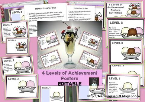 Picture of 4 Levels of Achievement Posters Ontario Curriculum @ Teachingisagift.blogspot.ca
