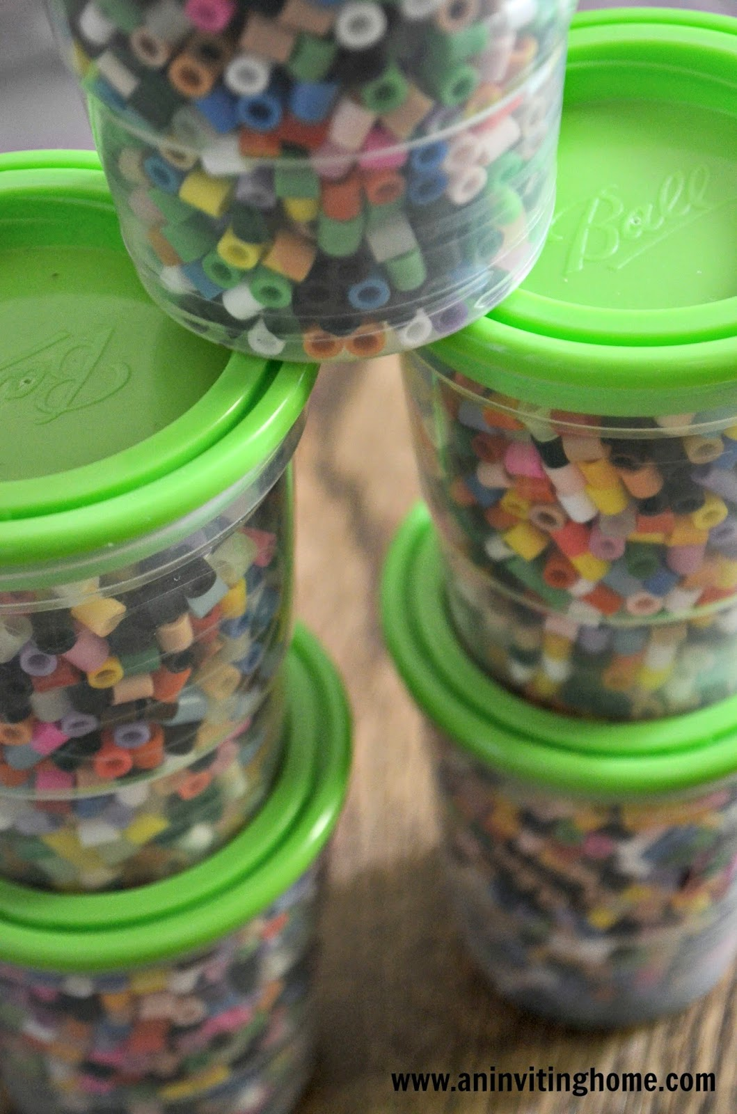 mason jars to store beads