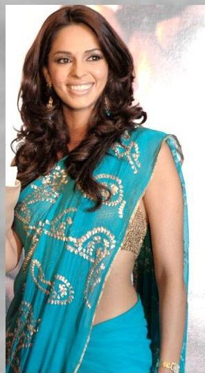 Malika Sheawat in Blue Saree gallery pictures