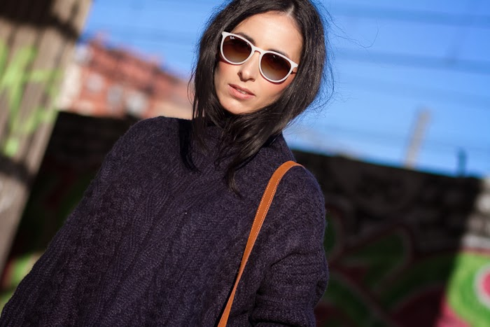 Withoutshoes with Navy Maxi Knitted TurtleNeck and Ray Ban Erika