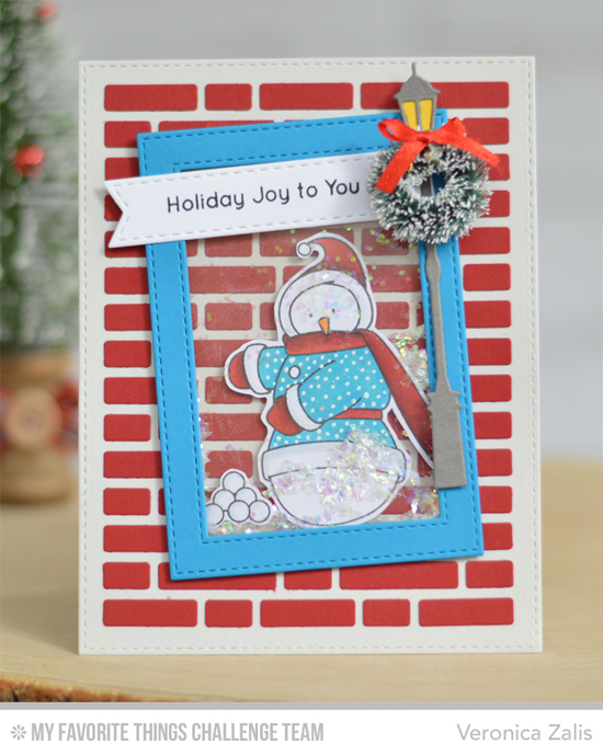 Holiday Joy Card by Veronica Zalis featuring the Birdie Brown Toasty Greetings stamp set and the Streetlights and Brick Wall Cover-Up Die-namics #mftstamps