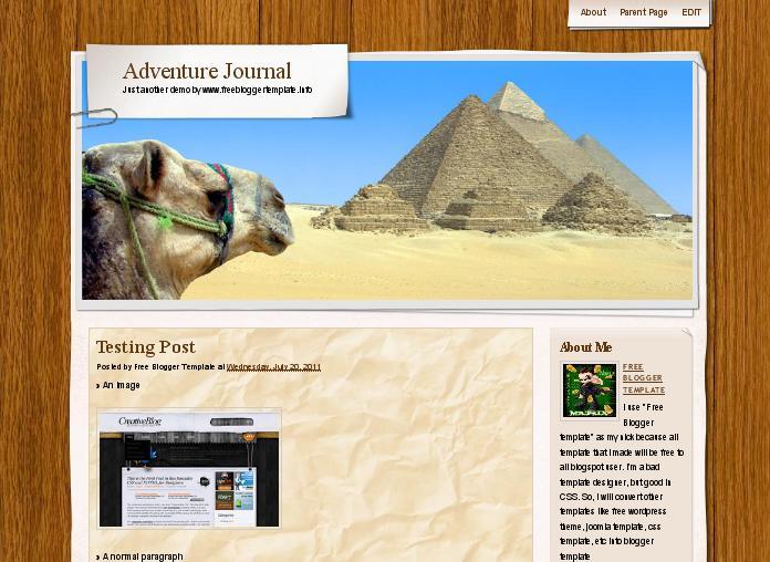 Adventure Journal Blogger Template
