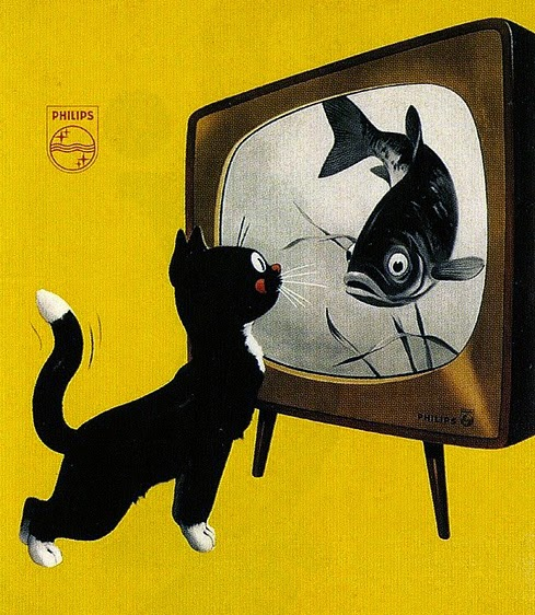 vintage Philips tv ad with a cat and a fish by Elvinger