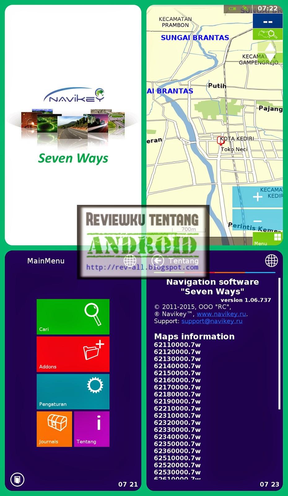 Tampilan aplikasi 7WAYS NAVIGATOR - Aplikasi navigasi gratis android yang bagus dan lengkap (rev-all.blogspot.com)