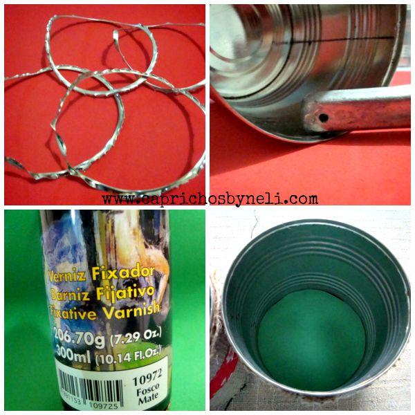 Lata decoradas com estopa, juta, reciclagem de latas