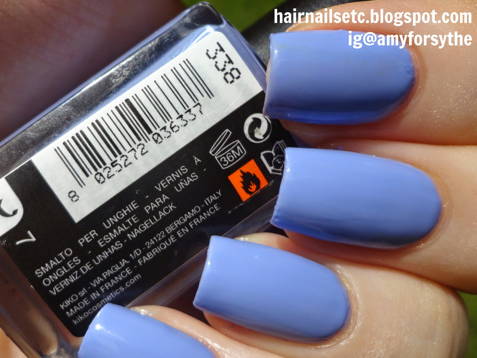 Kiko nail polish swatch review 338 Light Lavender